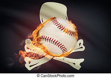 Baseball ball with flag on background series - Jolly Roger
