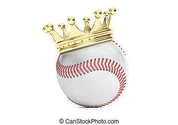 baseball ball with gold crown, 3D rendering