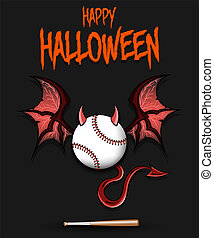 Baseball  ball with horns, wings and devil tail
