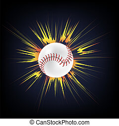 Baseball Ball with Yellow Explosion