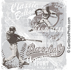 baseball ballgame - illustration for shirt printed and...