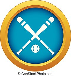 Baseball bat and ball icon blue vector isolated
