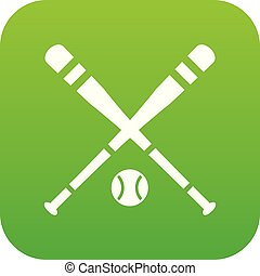Baseball bat and ball icon digital green
