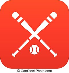 Baseball bat and ball icon digital red