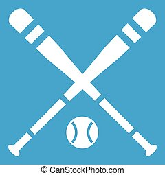 Baseball bat and ball icon white
