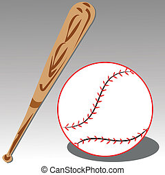 baseball bat and ball on gray gradient background