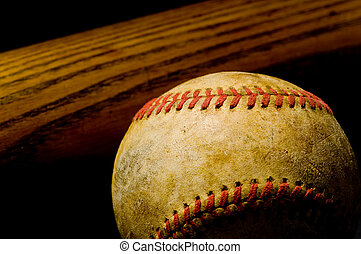 Baseball bat and Ball - Vintage or antique baseball bat and...