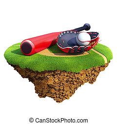 Baseball bat, glove (catcher's mitt) and ball based on...