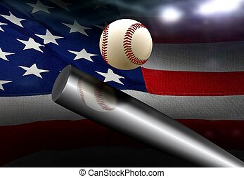 Baseball bat hitting ball with American flag background
