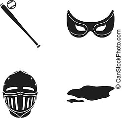 Baseball bat, mask knight's and other web icon in black style. helmet, dirty spot icons in set collection.