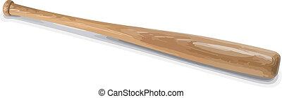 Baseball bat. - Vector wooden baseball bat isolated on white...