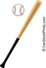 Baseball bat with baseball