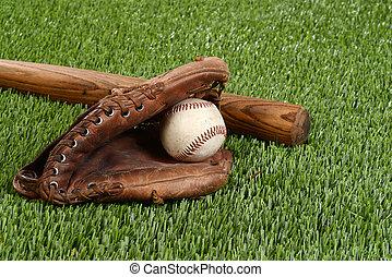 baseball bat with glove and ball