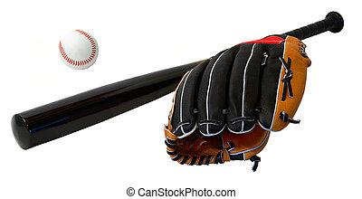 Baseball Bat,Ball and Glove Arrangement - This is a close-up...