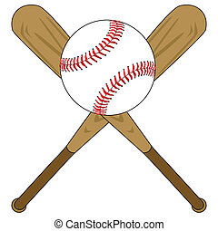 Illustration of two wooden baseball bats and a baseball