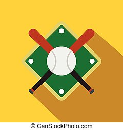 Baseball bats and ball on baseball field icon