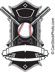 Baseball or Softball Illustration with Bats Ornate Graphic Vector Template