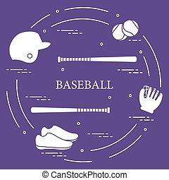 Baseball bats, glove, balls, helmet, shoes. - Glove, balls,...