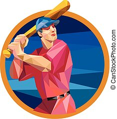 Baseball Batter Batting Bat Circle Low Polygon - Low polygon...