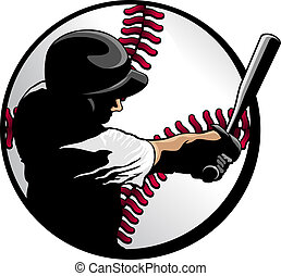 Closeup vector illustration of a baseball batter swinging for the fences composited in a baseball.