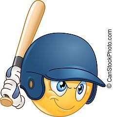 Baseball batter emoticon - Baseball batter or hitter player...