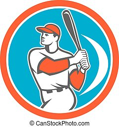 Baseball Batter Hitter Bat Circle Retro - Illustration of an...