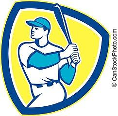 Baseball Batter Hitter Bat Shield Retro