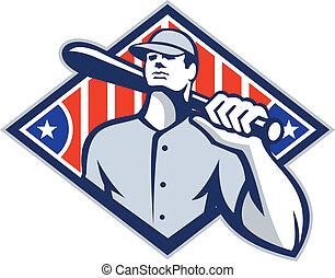 Baseball Batter Hitter Bat Shoulder Retro - Illustration of...