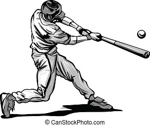 Baseball Batter Hitting Pitch Vecto - Baseball Hitter...