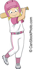 Illustration of a Girl Dressed in Baseball Gear Assuming a Batter's Position