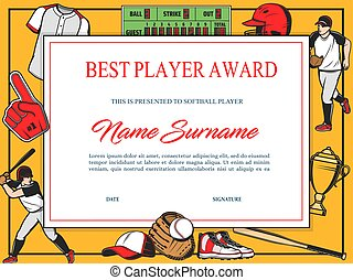 Baseball best player award diploma vector template