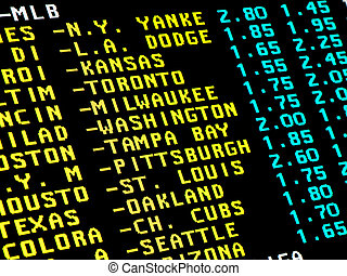 Baseball betting - Sight on monitor with the teletext and...