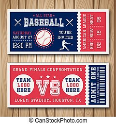 Baseball Blue Red Tickets - Baseball blue red tickets with...