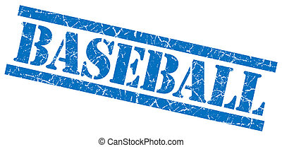 baseball blue square grungy isolated rubber stamp