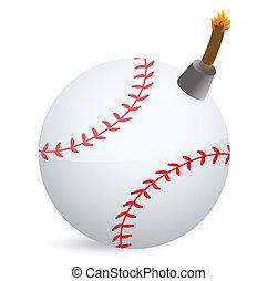 baseball Bomb illustration design over white design