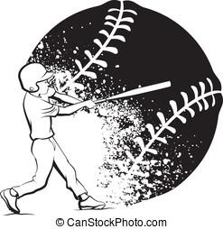Baseball Boy Batting with Grunge Ball - Black and white...