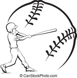 Baseball Boy Batting with Stylized Ball - Black and white...