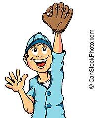 Happy boy playing baseball about to make a catch