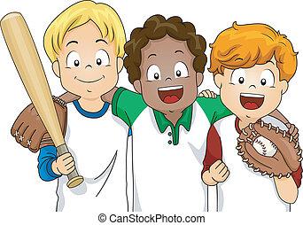 Baseball Boys - Illustration Featuring a Group of Boys Ready...