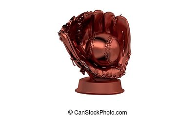 Baseball Bronze Trophy in Infinite Rotation with a white...