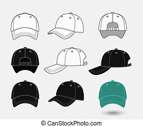 Baseball cap. Back, front and side view. Uniform fashion hat, design sport clothing. Vector illustration