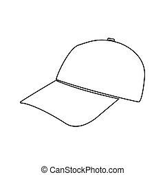 Baseball cap black color path icon .