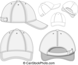 Baseball cap - Vector illustration of baseball cap (front,...