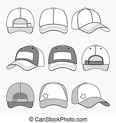 Baseball cap front back and side view outline vector template