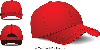 Baseball cap. Front, left, back view. Vector illustration on...