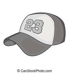 Baseball cap icon, black monochrome style - Baseball cap...