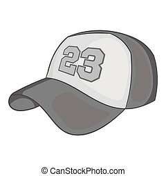 Baseball cap icon, black monochrome style
