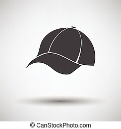 Baseball cap icon on gray background, round shadow. Vector...
