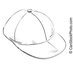 Baseball cap. - Sketch doodle child cap. Eps 10 vector...