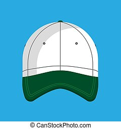 Baseball cap vector flat icon hat isolated clothing. Accessory front view green sport uniform cotton visor